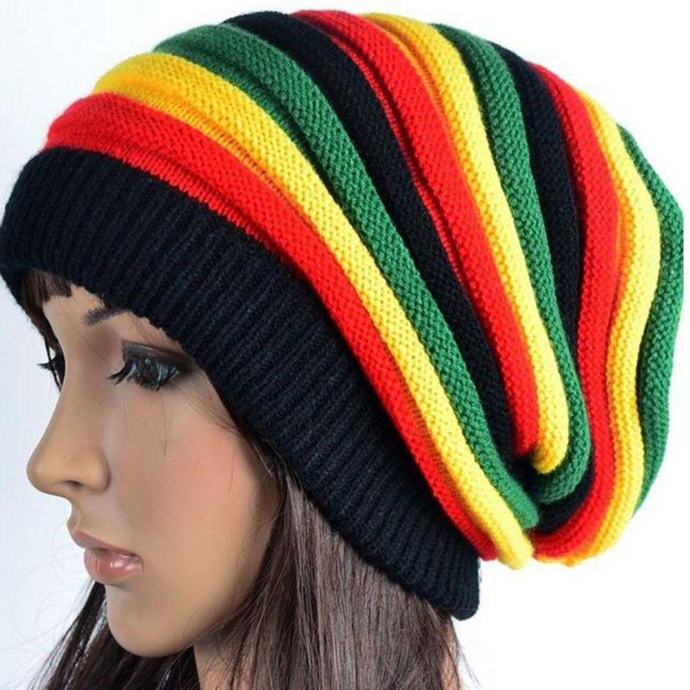 NEW Fashion Women's Knit Cap Reggae Rasta Style Cappello Gorro  Hip Pop Men's Winter hats Female Red Yellow Green Black Fall