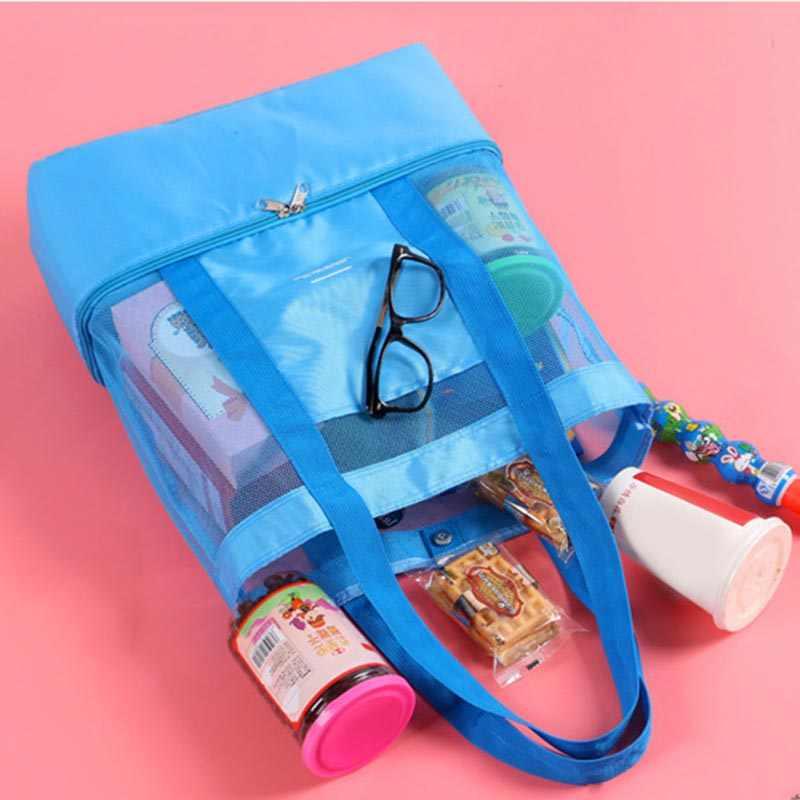 High Capacity Women Mesh Transparent Bag Double Layer Heat Preservation Large Picnic Beach Bags Women S Shoulder Bags 2019 Top Handle Bags Aliexpress
