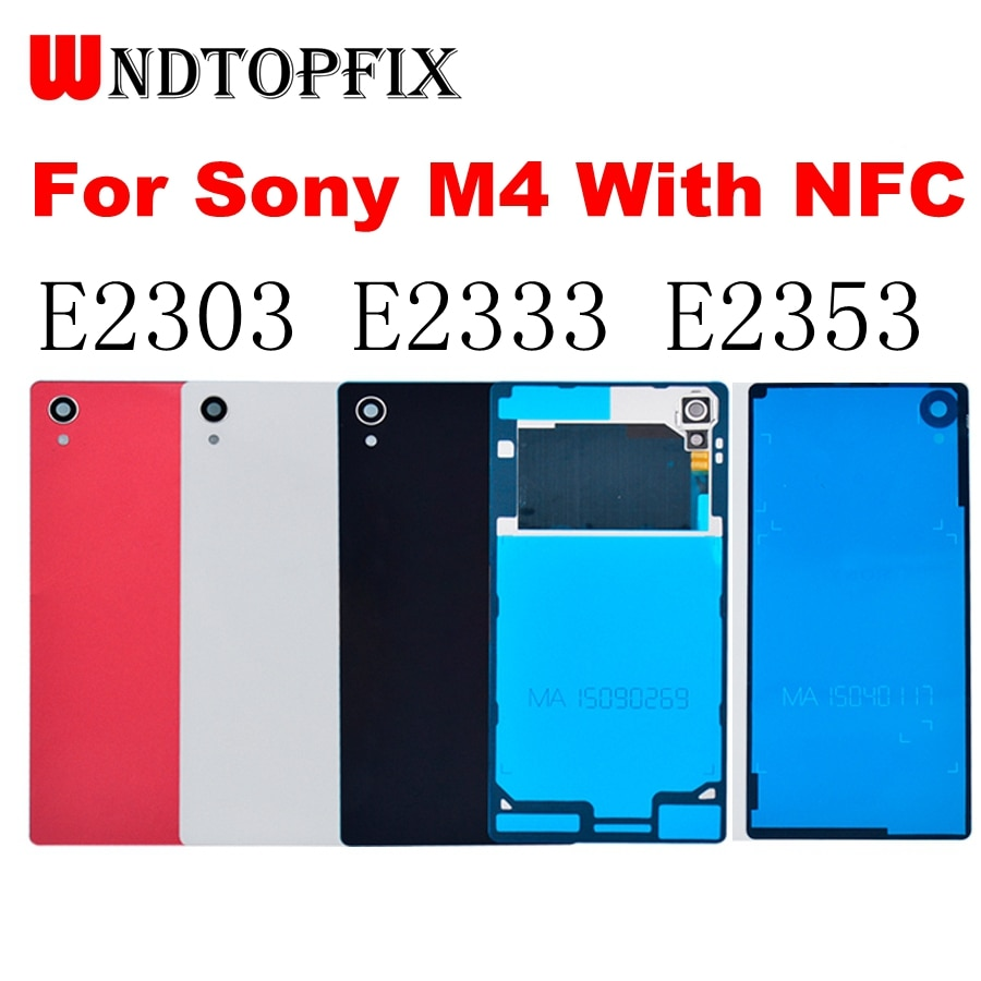 Para sony xperia m4 aqua voltar capa de bateria porta traseira habitação caso com nfc substituição para sony m4 e2303 e2333 bateria capa