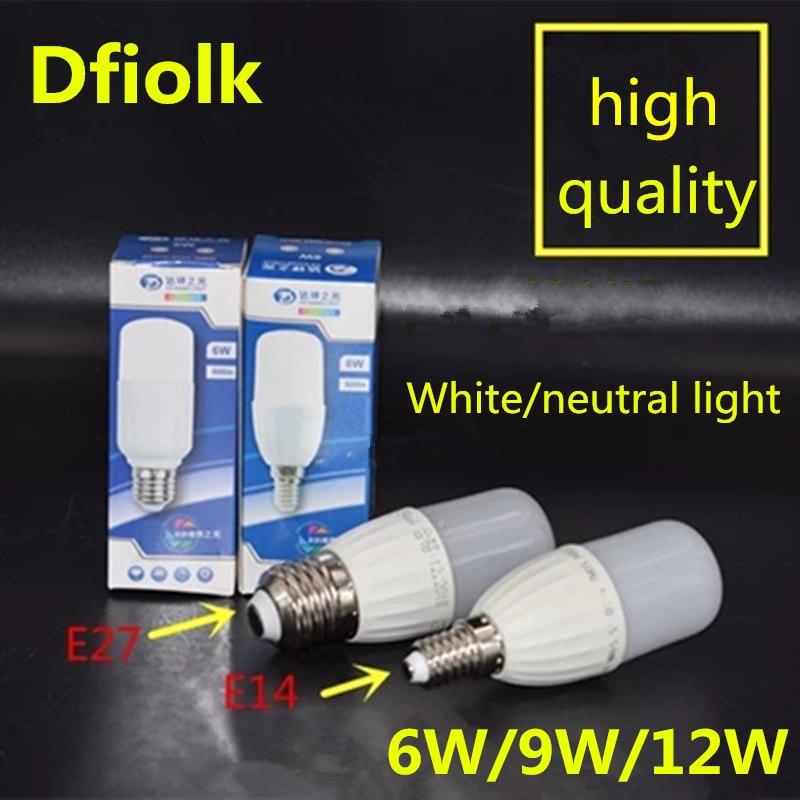Nueva lámpara LED cilíndrica 6W9W12W E27, gran tornillo E14, pequeño tornillo 110V 220V, luz neutral, LED blanco frío, superbrillante