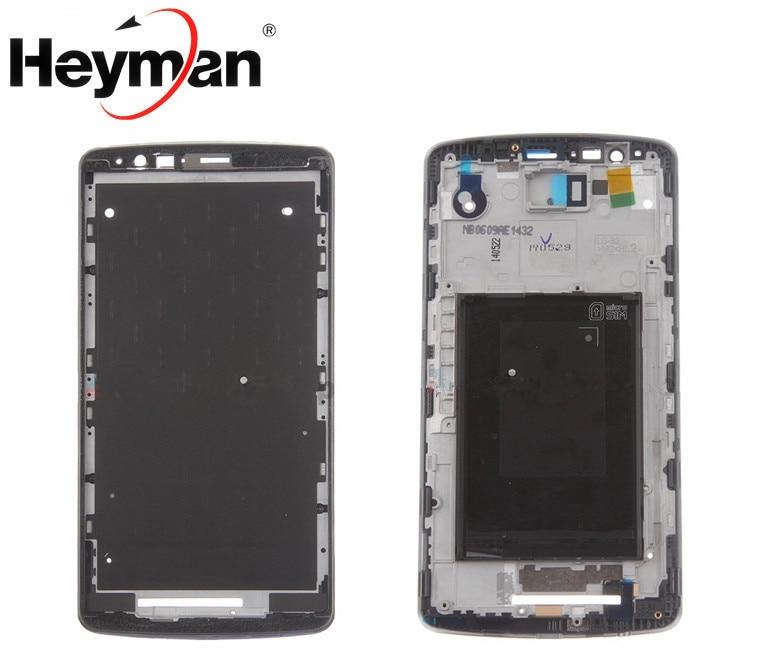 Heyman Frontal Medio para LG G3 LS990/VS985/D850/D851/D855 marco bisel vivienda LCD soporte de pantalla piezas de reparación de Marcos + adhesivo
