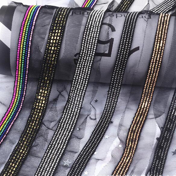 5 yardas, cadena de cuentas, franja dorada y plateada, apliques de encaje de cinta, escote, decoración de collar, costura, Renda para vestido de novia