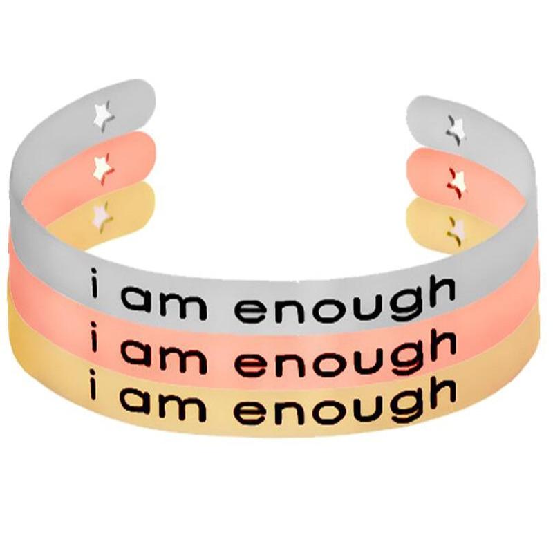 """9 unids/lote brazalete de aleación de plata/oro rosa letra """"Soy suficiente"""" pulseras estampadas para mujeres"""