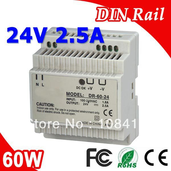 Transformador de fuente de alimentación de carril Din de salida única LED DR-60-24 24V DC 2.5A salida SMPS