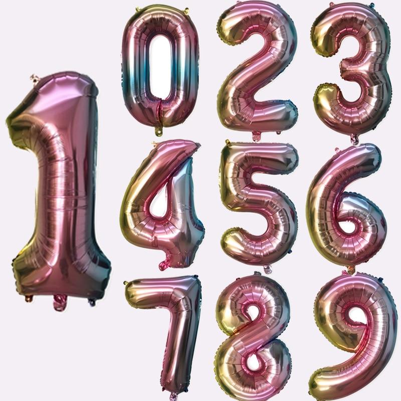 Globos con degradado de 32 pulgadas, globos de cumpleaños con números, decoraciones para fiesta de cumpleaños de arco iris, suministros para globos de boda para niños
