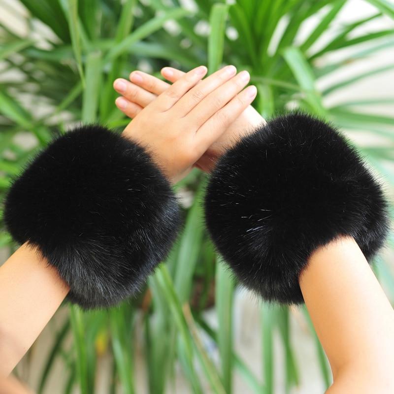 fauxrabbit fur arm warmers faux rabbit fur sleeve decor ring winter multicolor pom pom fluffy cute cuffs women cute accessories