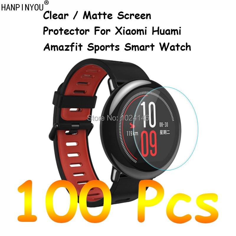 ساعة شاومي Huami Amazfit الرياضية الذكية ، 100 قطعة ، شفافة ، عالية الدقة ، غير لامعة ، واقي شاشة ، فيلم واقي ، قماش تنظيف