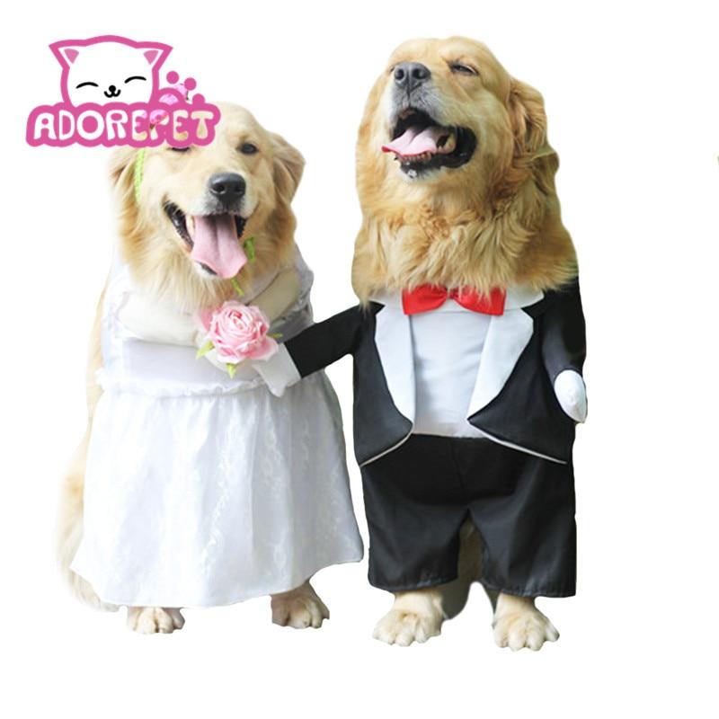 Perro boda esmoquin vestido velo para perro grande mediano divertido novia de pie traje de novia para Golden Retriever Bulldog foto Props