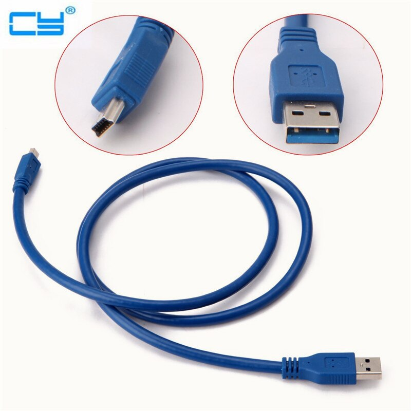Cable azul velocidad USB 3,0 tipo-a macho A Mini USB 3,0 Mini de 10 pines macho de 30cm/0,3 m 60cm/0,6 m 100cm/150cm 1m/1,5 m 300cm/3m 500cm/5m