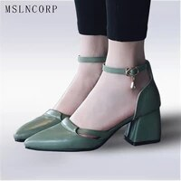 plus size 34 47 new women sandals summer pointed toe shoes ladies shallow ankle strap thick heel office pumps shoes high quality