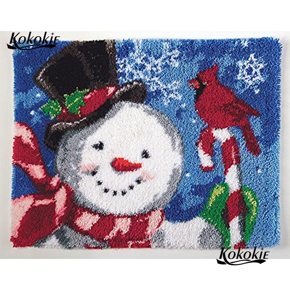 DIY tapete do gancho da trava lona impressão 3d decoração do boneco de neve de Natal vloerklee tapijt knooppakket foamiran para needlework crochet tapis