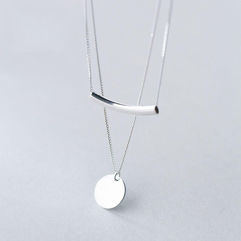 Кулон в виде монет, серебро 925 пробы, многослойное ожерелье, чокер-колье, очаровательное минимализм, винтажное ожерелье в стиле бохо, женское ювелирное изделие