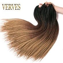 VERVES-trenzas de ganchillo de 24 pulgadas, caja trenzada de 22 raíces/paquete, extensión de cabello trenzado sintético ombré, fibra de calor, trenza a granel, color rosa y negro