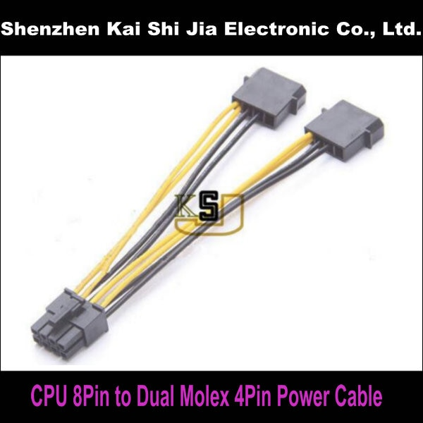 "6 ""Dual 4Pin Molex a CPU 8 Pin Cable de alimentación IDE a la CPU 8Pin Cable de alimentación"