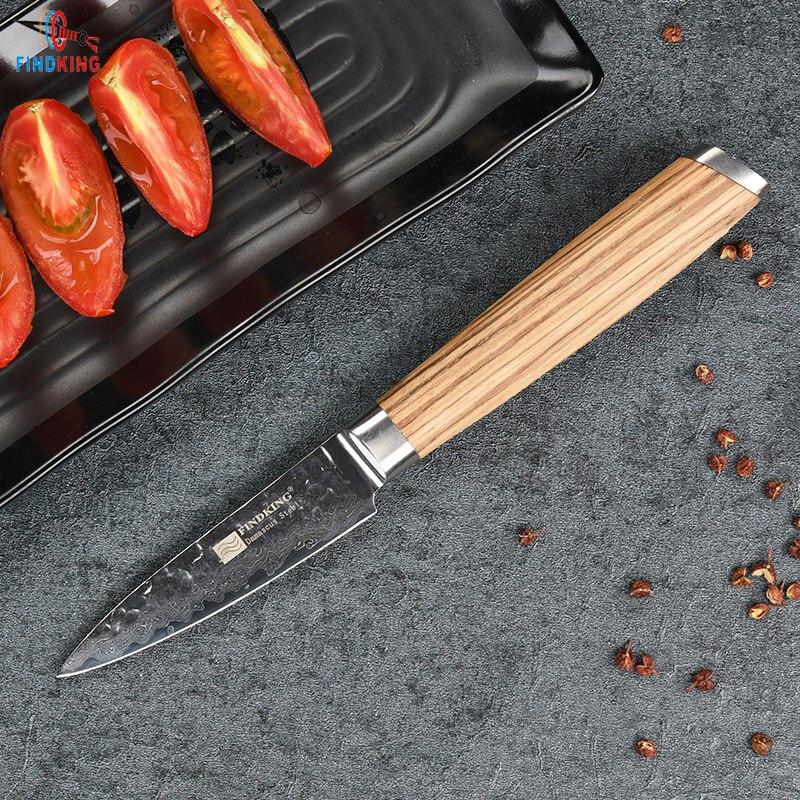 FINDKING 2017 Nuevo cuchillo de acero de Damasco 3,5 pulgadas cuchillo de fruta cebra madera Damasco acero cuchillos de cocina cuchillo de pelar