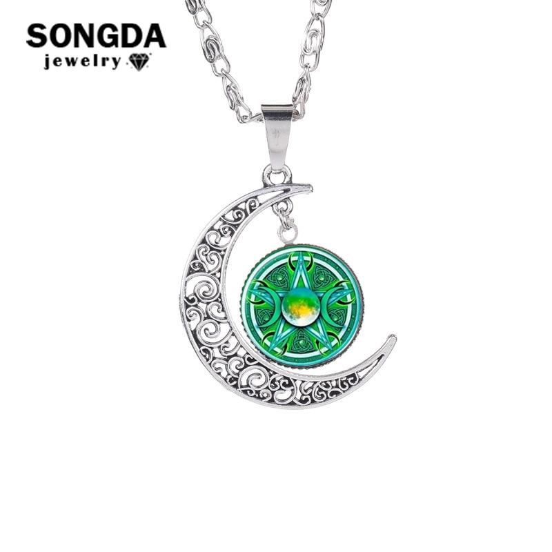 Collar de diosa de la luna Triple SONGDA, colgante de bisutería con diseño de pentagrama y cúpula de cristal, collares de Amuleto mágico y Media Luna