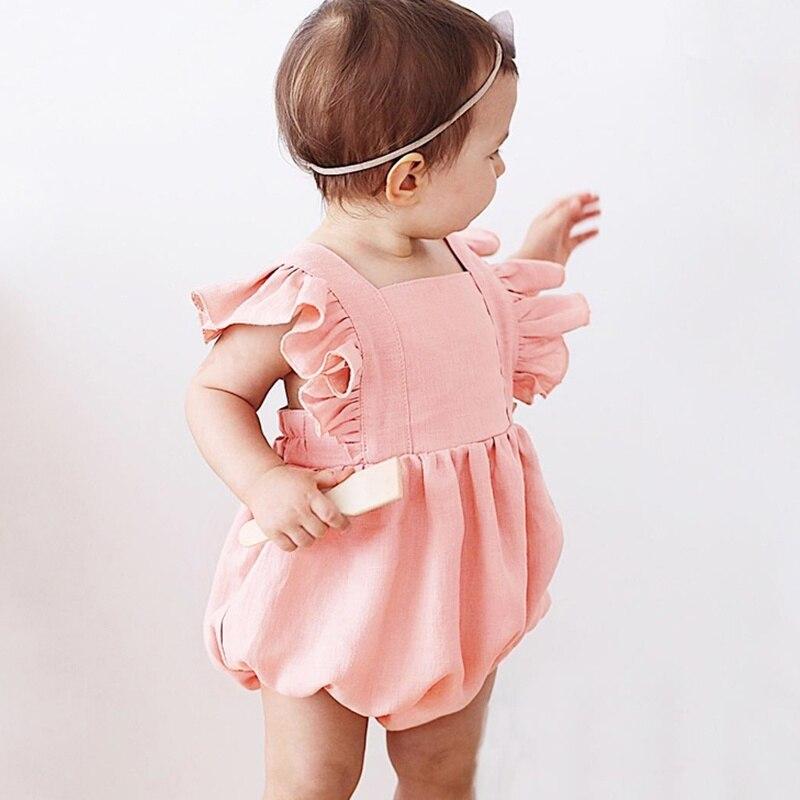 Sólido sin mangas verano mono trajes recién nacido bebé niña volantes traje de sol lindo bebé niña ropa 2019