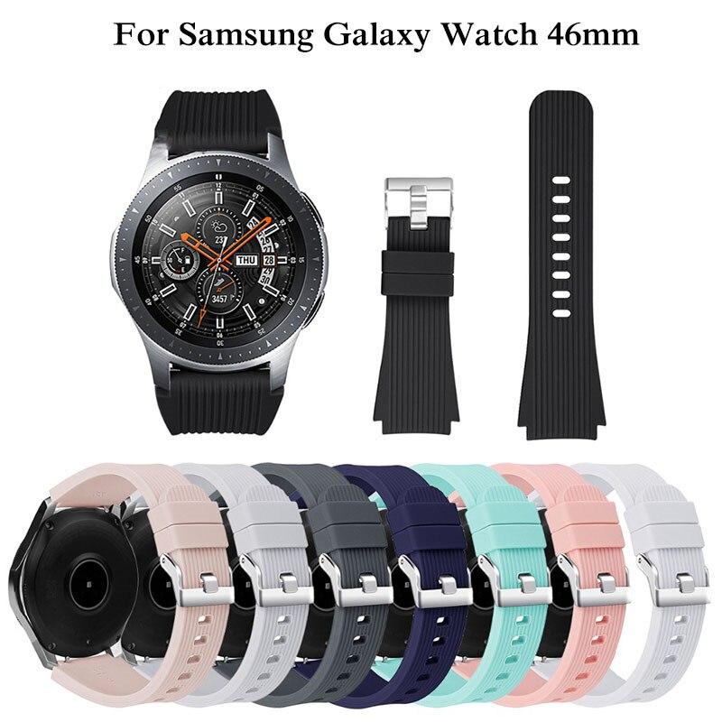 22mm reloj de silicona correa para Samsung Galaxy ver 46mm Original de rayas de reemplazo de pulsera deporte banda Correa Oct30