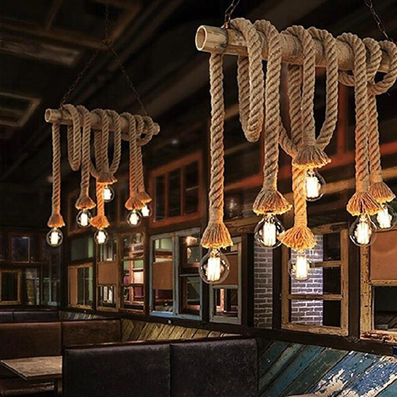None Vintage Rustic Hemp Rope Ceiling Chandelier Wiring E27 220V Pendant Lamp Hanging Lights for Living Room Bar Decor