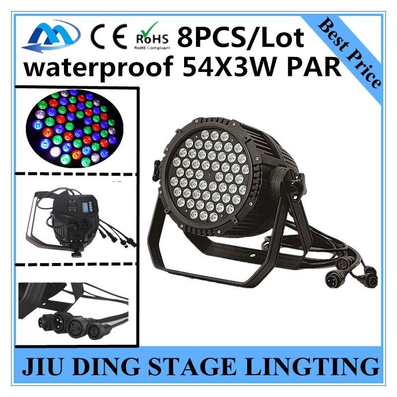8 piezas/RGBW X 54X3 W a prueba de agua led par luz luces de discoteca equipo de dj Profesional par LED impermeable
