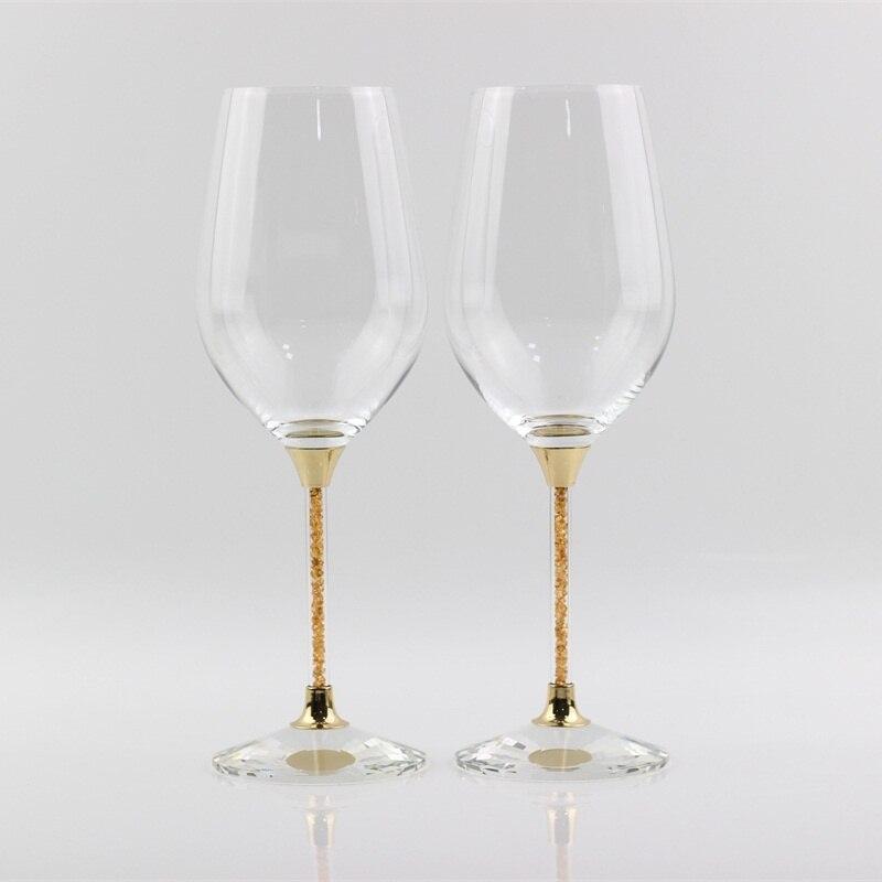 Copas de cristal sin plomo, Copas de boda de color dorado, Copas de copas de vino para brindis, regalos de aniversario, copas para beber para fiestas y celebraciones
