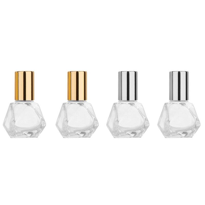 50 pçs 5ml mini rolo de vidro-em garrafas de liga capa recarregável óleos essenciais garrafa de viagem vazio recipiente cosmético frasco de perfume