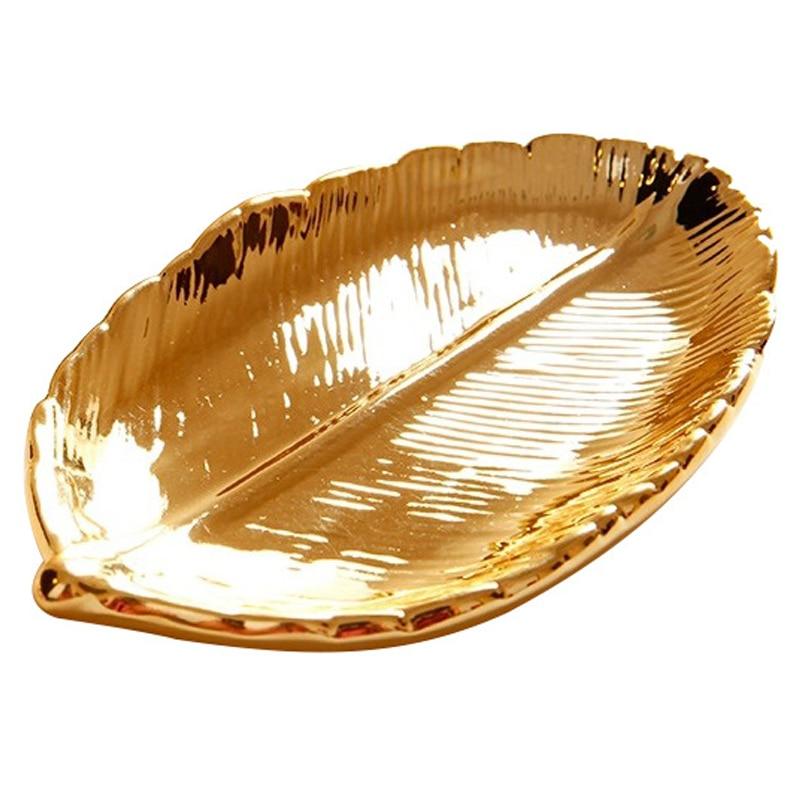 Bandeja dorada de almacenaje de hojas de cerámica de estilo europeo bandeja de joyería con llave multifunción artesanías de cerámica creativas decoración de escritorio para el hogar