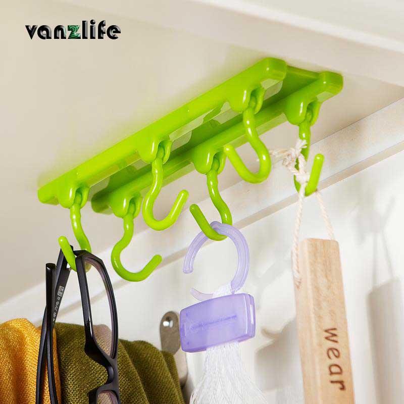 vanzlife kitchen ceiling hook cupboard storage rack with 3M glue seamless adhesive hook bearing