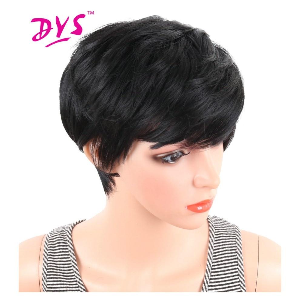 Deyngs curto em linha reta perucas sintéticas pixie corte de cabelo natural peruca com franja para preto feminino marrom preto cosplay para o dia das bruxas
