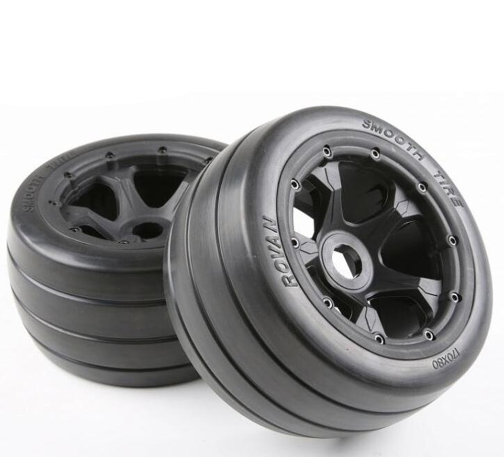 2Pcs Rc Cars On Road Rubber Smooth Tire 170x80mm For 1/5 Scale HPI Racing Baja 5B 5T 5SC LOSI TDBX FS Toys Buggy Truck Parts