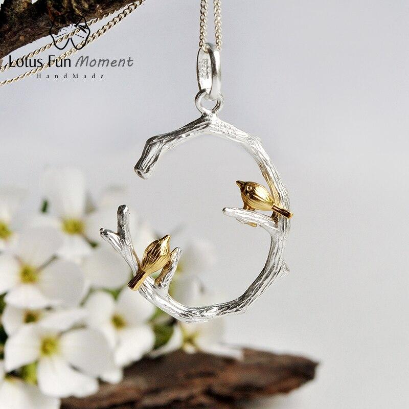 Lotus Fun momento Plata de Ley 925 auténtica joyería de moda Natural hecha a mano colgante de pájaro en rama sin collar para mujer