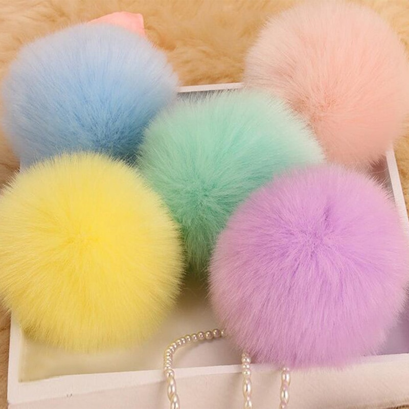 8CM Fluffy Pompon Bunny Fur Ball Key Chain Ring Women Faux Rabbit Fur Pom Pom Keychain Bag Charms Trinket Wedding Jewelry Gift faux leather pom pom crossbody bag