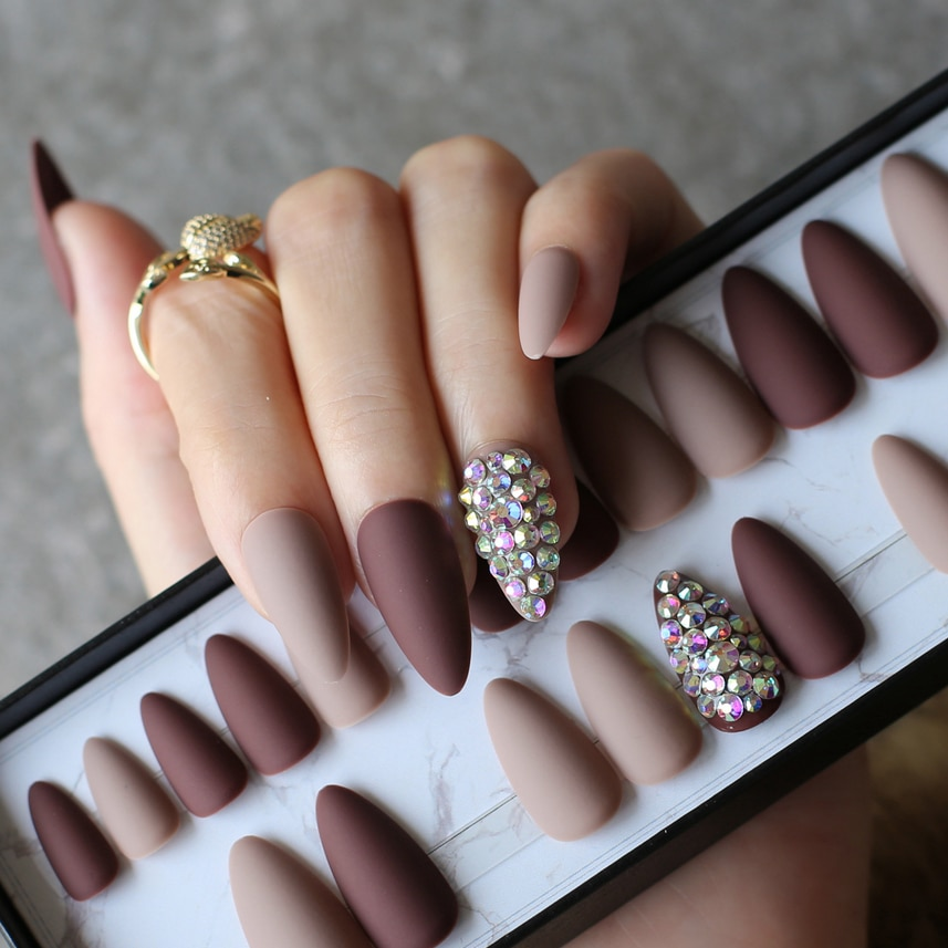 Dark coffee full crystal  stiletto fake nails nude full set 28pcs medium customize logo DIY Teardrop-shaped Matte Fake nails