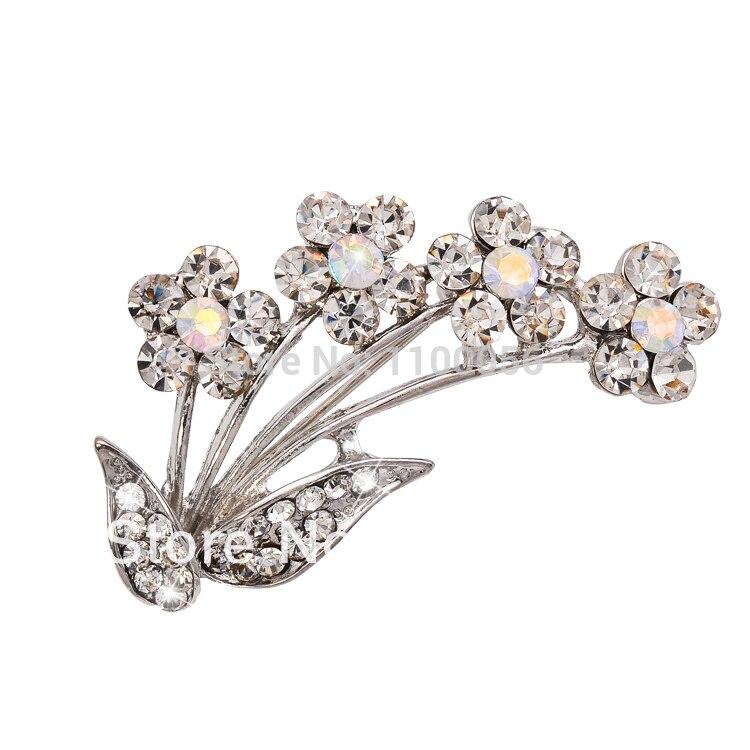 ¡Pedido mínimo de $10! Envío Gratis joyería de cristal de moda broches de diamantes de imitación venta al por mayor broche ramo de flores regalo X0985