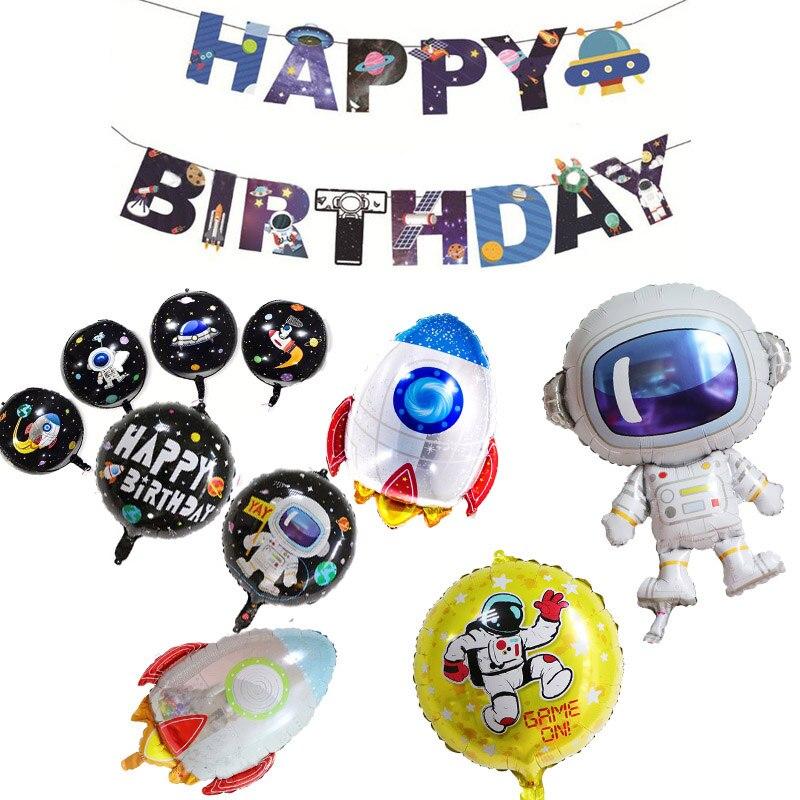 Astronauta del cohete globos de papel de aluminio del espacio fiesta de bienvenida del bebé para los niños super héroe Favor juguetes adornos para fiesta de cumpleaños niños