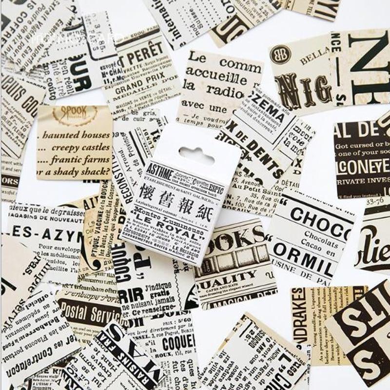 45 unids/caja creativo nostálgico periódico caja pegatinas estudiante papelería álbum bricolaje decoración para scrapbook álbum Clip diario regalo