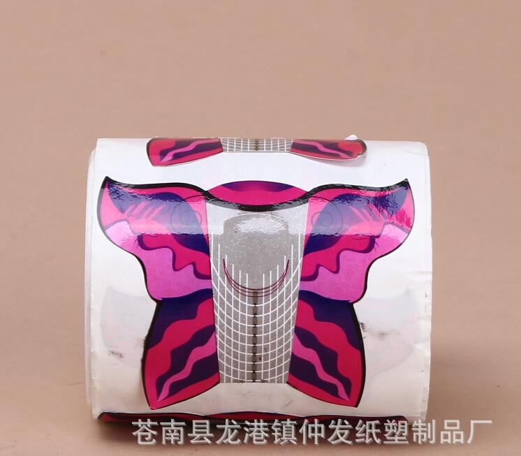China forma de unhas Factory-500pcs auto-adesivo popular roxo borboleta formas de unhas (500 por rolo) para gel de unha, WT407F-500