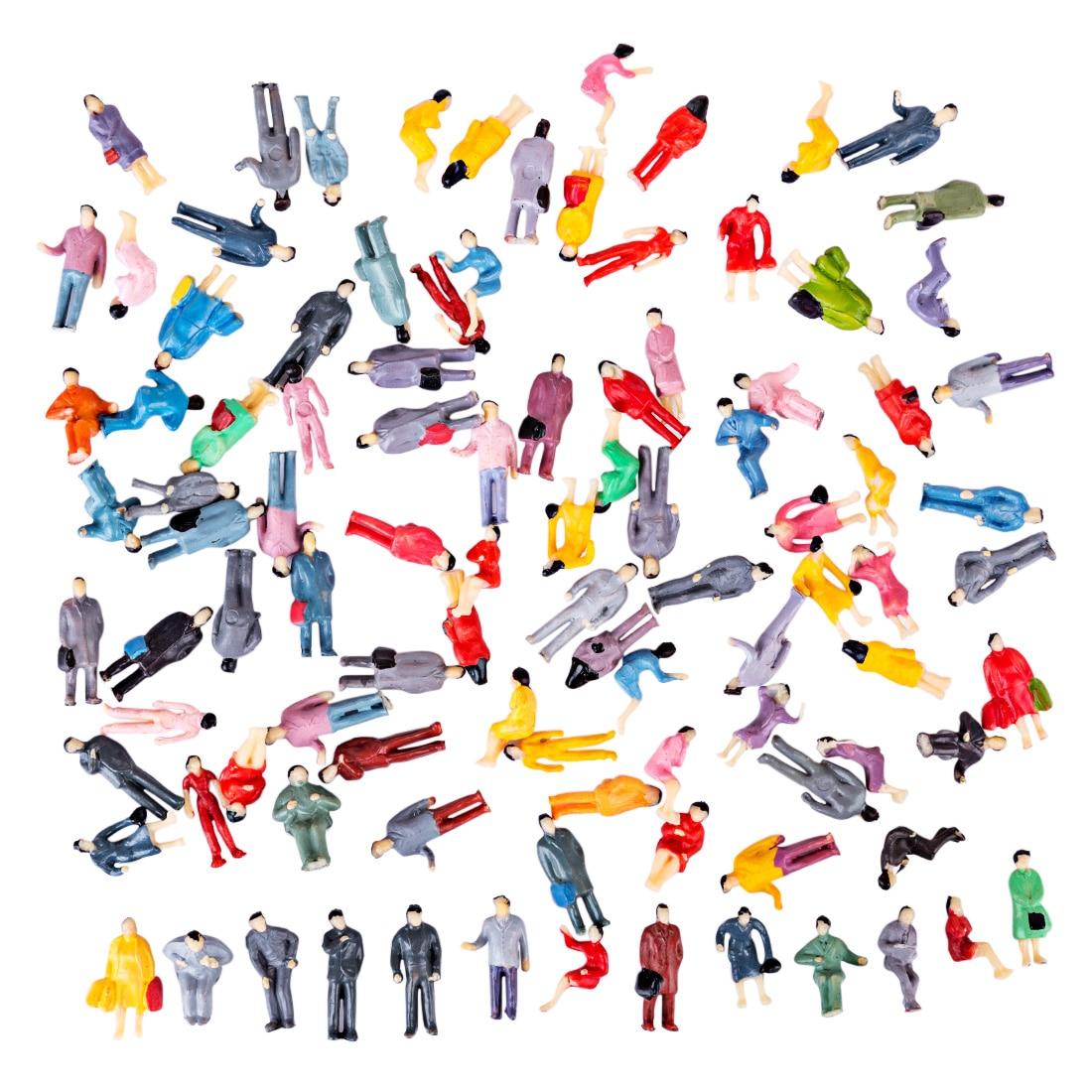 50/100Pcs 1:50/75 /87/100/150 HO Scale Miniature Figures Model for Train Railway Sand Table - Colorful (Random Type)