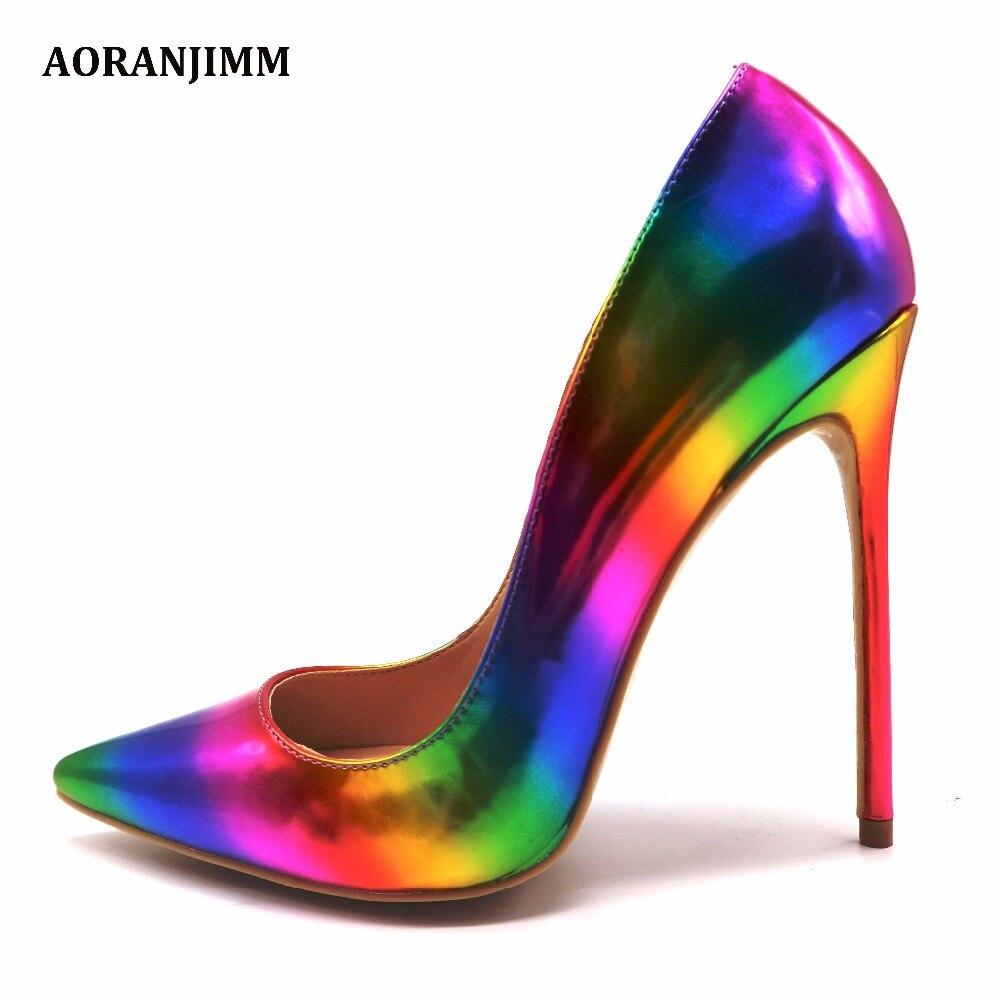 Frete grátis AORANJMM real pic colorful rainbow impresso mulher dedo apontado senhora fêmea 12 cm 10.5 cm 8 cm alta sapatos de salto bomba
