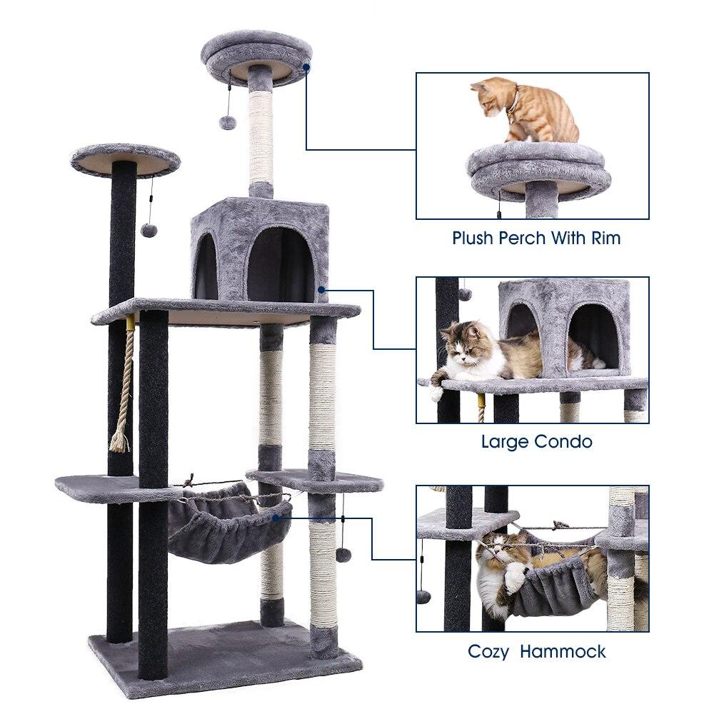 H175cm Gato Escalada Quadro do Gato Gato Árvore Scratcher Coçar Post Pólo Mobiliário de Casa Ginásio Gato Brinquedo Salto Plataforma