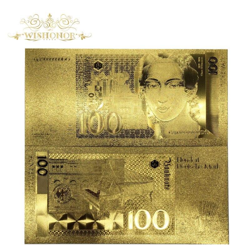 10 pçs/lote Deutschland Notas de Notas De Ouro 100 Marca Projeto de Lei em 24 k Banhado A Ouro Réplica Para A Coleta de Dinheiro De Papel E presentes