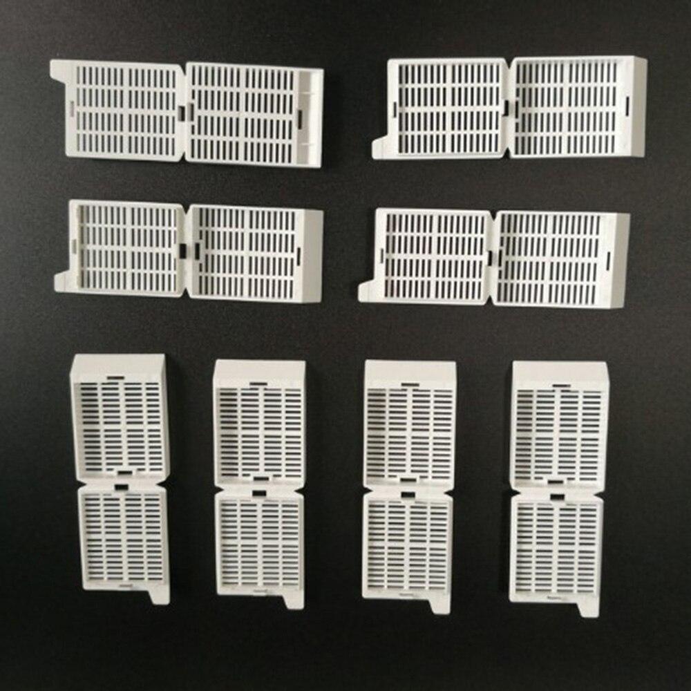 250 unids/caja laboratorio POM material tejido cartucho incrustación rebanada caja blanca deshidratación caja tejido cassette