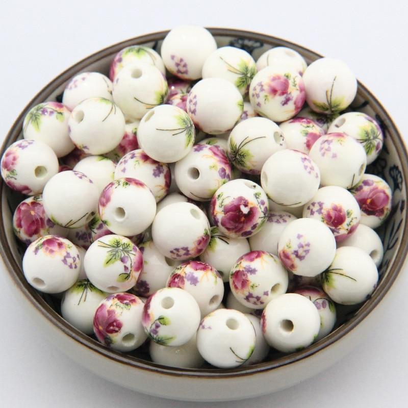 20 pçs/lote fantasia impressão roxo flor porcelana diy contas 8 10 12 14mm escolher tamanho decoração espaçador encantos diy jóias fazendo