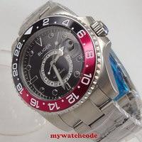 43mm Bliger שחור חיוג ספיר קריסטל תאריך GMT מכאני אוטומטי גברים שעון