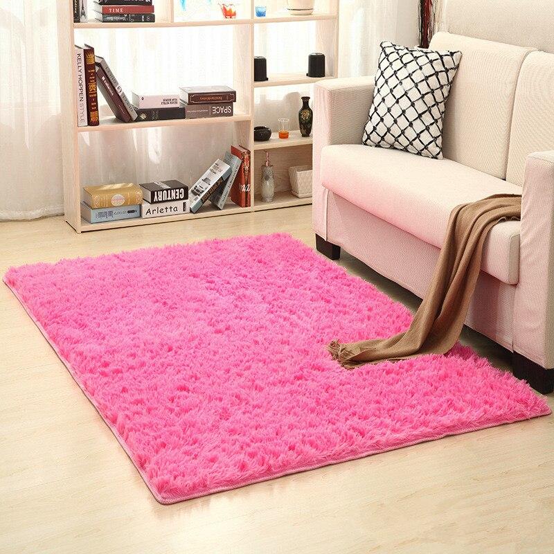 Alfombra de pelo largo de 160cm x 200cm SEDA lavada grueso antideslizante mesita para café de sala de estar manta dormitorio alfombra alfombras de yoga