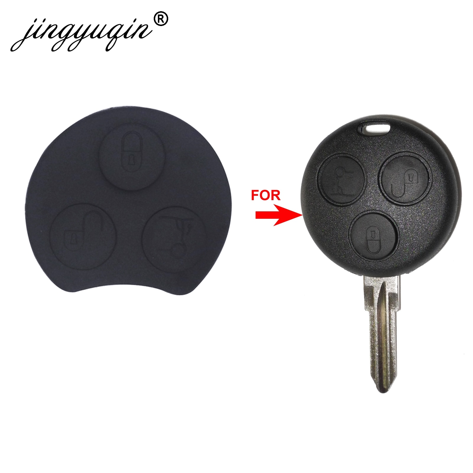 Lote de botones jingyuqin para Mercedes Benz Smart Two 450 Mayitr, funda para mando a distancia, reemplazo de almohadilla