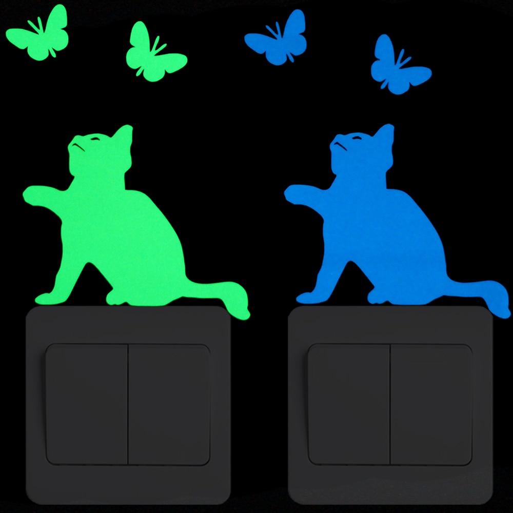 Pegatina de conmutador luminosa gato mariposa niño niña dormitorio DIY decoración personalizada pared adhesivo con dibujo de animal calcomanía