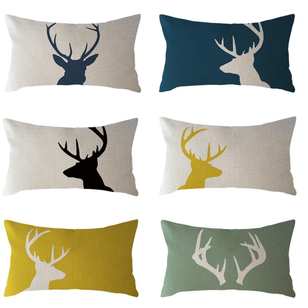 Reindeer Pillow Case Elk Cushion Cover Moose Throw Pillows Home Decorative Pillows Cover