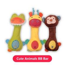 Weichen Bunten Baby Rasseln Plüsch Spielzeug Educational Hand Rassel Glocke Cartoon Tiere BB Sounder Musik Bett Hängen Puppen