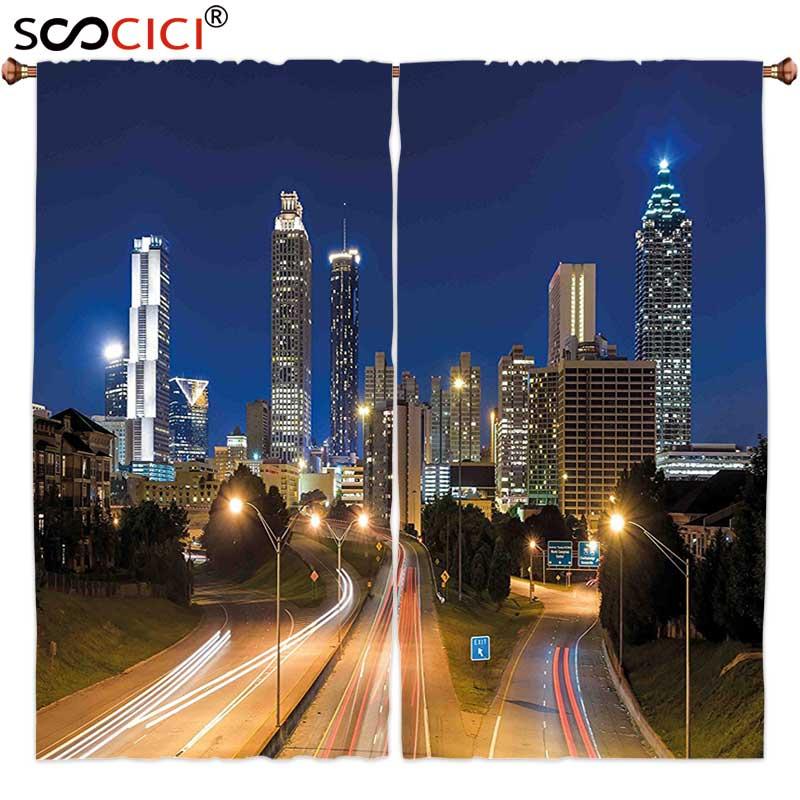 Cortinas de ventana tratamientos 2 paneles, imagen urbana de Atlanta Skyline crepúsculo con edificios de autopista rascacielos movimiento borroso